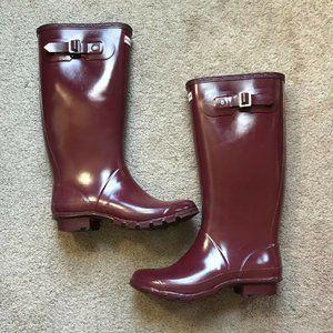 Hunter Huntress Gloss Burgundy Rain Boots